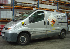 Flawless Flooring van. Contact Flawless Flooring for Laminate and Hardwood Flooring Supplies and Installation.